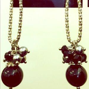 Beautiful black and grey pearl drop earrings